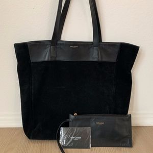 Reversible YSL Black Leather Suede Tall Tote Bag